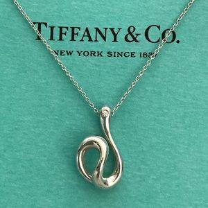 Tiffany Elsa Peretti open wave diamond necklace
